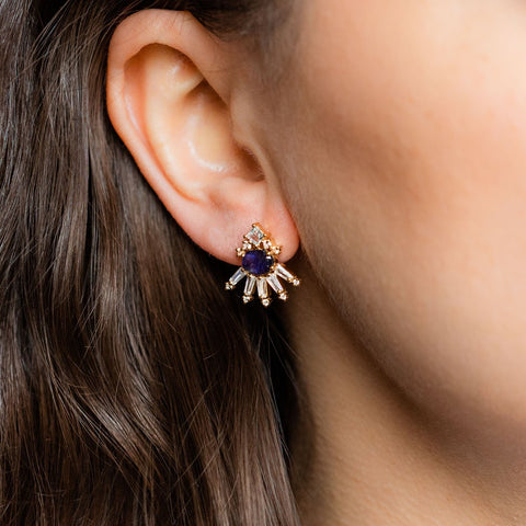Opulent Illusion Statement Earrings with Topaz & Iolite