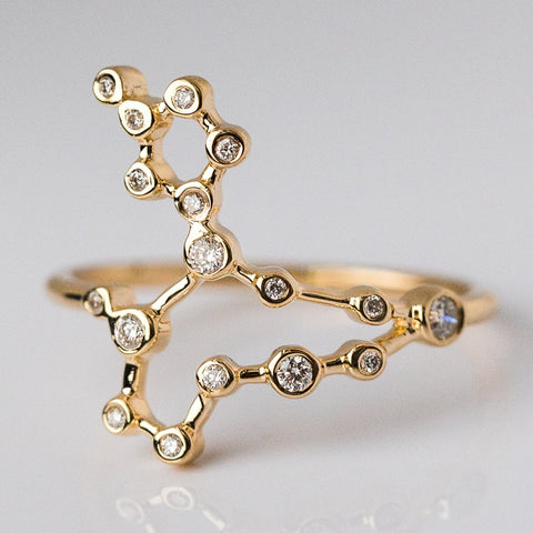 14K Gold Pisces Ring with Diamonds - rings - Lulu Frost local eclectic