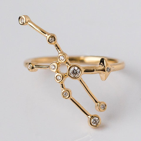 14K Gold Taurus Ring with Diamonds - rings - Lulu Frost local eclectic