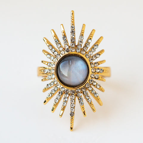 Rising Sun Ring statement yellow gold stone ring modern celestial jewelry