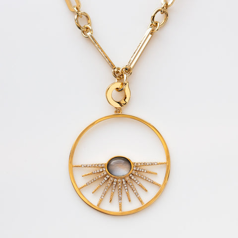 Rising Sun Long Pendant Necklace large statement celestial jewelry