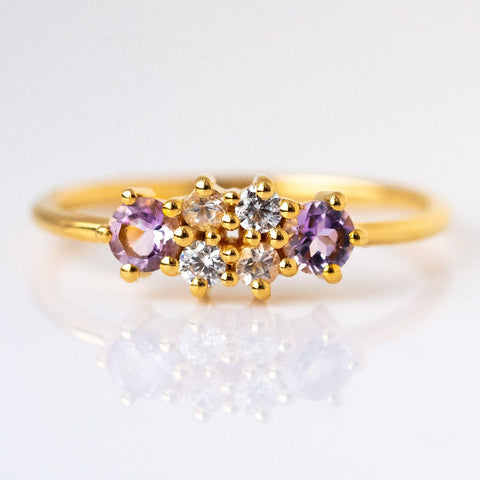 Amethyst & Morganite Cluster Dream Ring - rings - Lust & Luster local eclectic