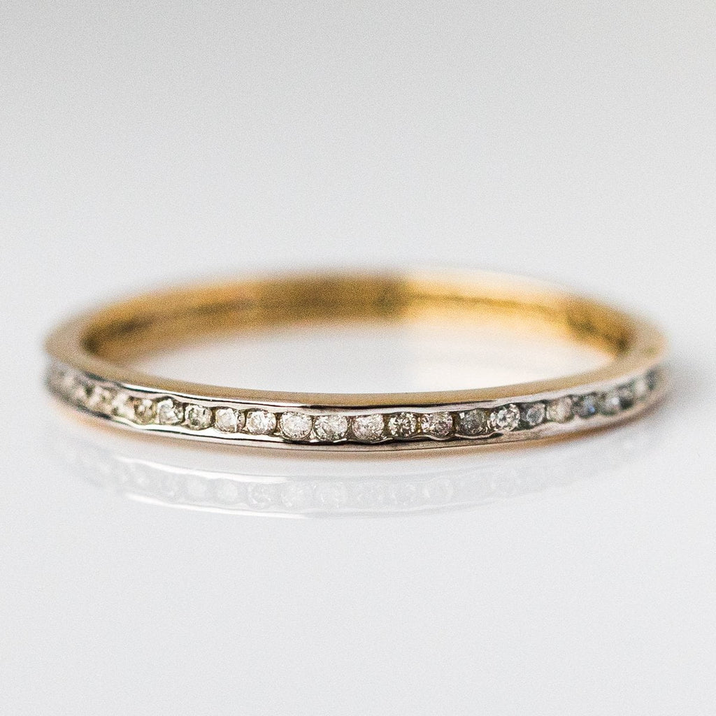 Solid Gold Yellow Gold and Diamond band from local eclectic, unique wedding band