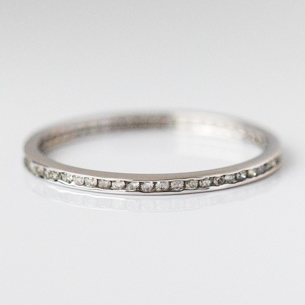 Solid White Gold and Diamond band from local eclectic, unique wedding band