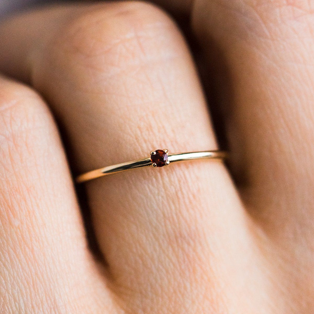 Simple Garnet Birthstone Layering Ring - rings - Lust & Luster local eclectic