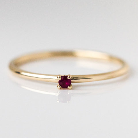 Simple Ruby Birthstone Layering Ring - rings - Lust & Luster local eclectic