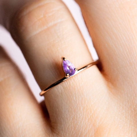 Amethyst ring, rose gold ring, rose gold stacking ring.