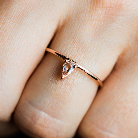 Rose Gold & Morganite Love Ring - rings - Lust & Luster local eclectic