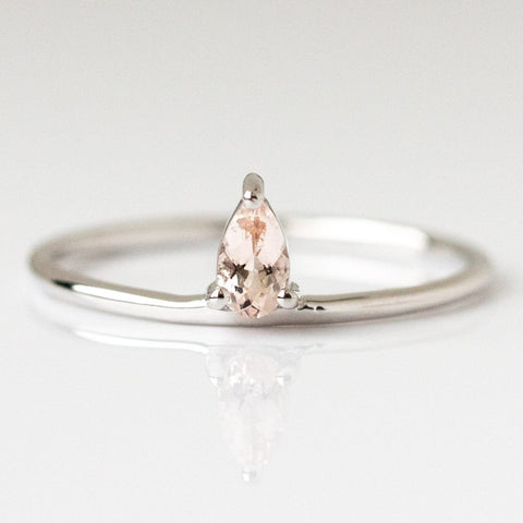 Pink morganite ring, silver morganite ring, sterling silver ring