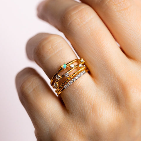 Beyond Basic Opal & Diamond Stacking Ring Set