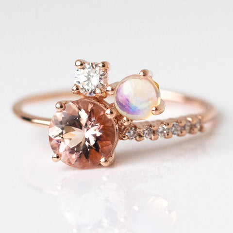 Blushing Venus Cluster Ring