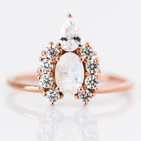 Moonstone & Diamond Princess Crown Ring - rings - Lust & Luster local eclectic