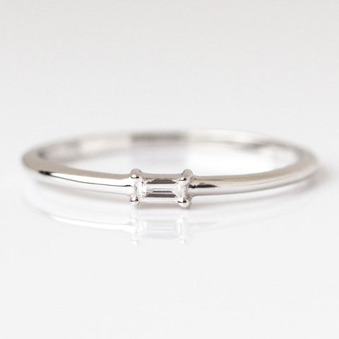Single Baguette Diamond Ring in White Gold