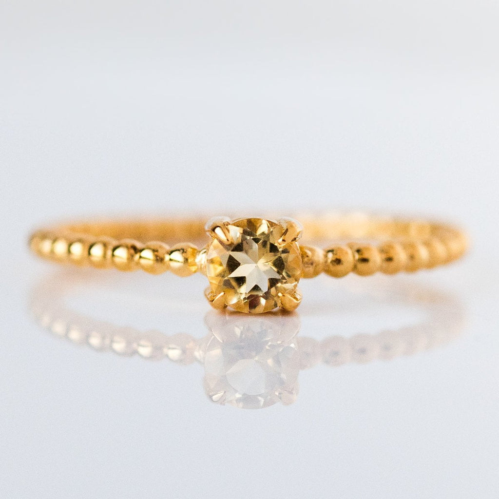 november beaded birthstone ring, citrine birthstone jewelry
