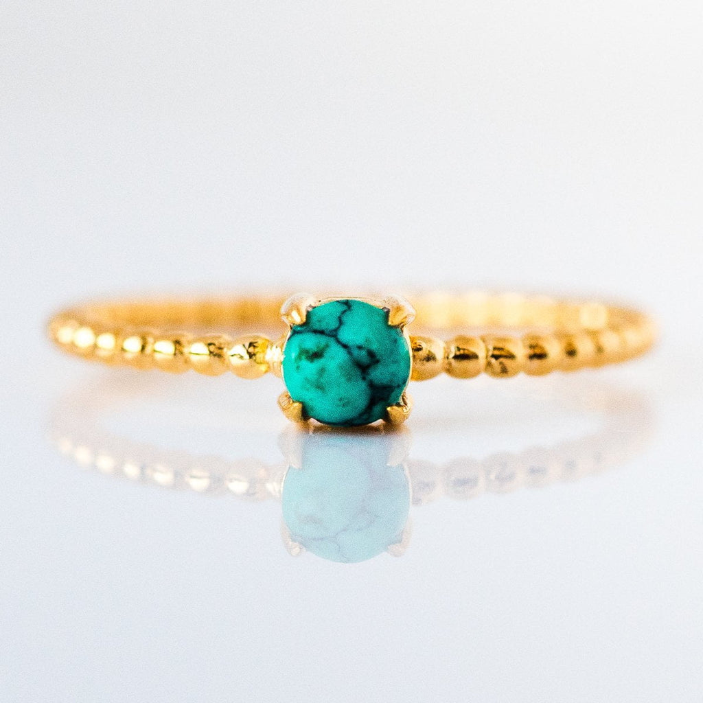 turquoise beaded birthstone ring, december birthstone jewelry