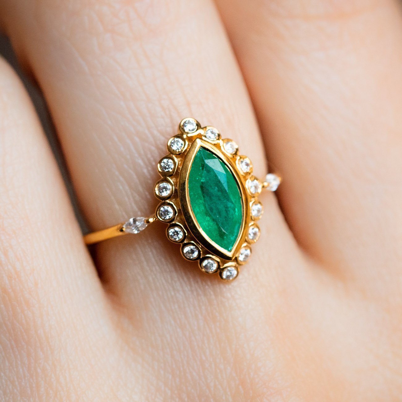 Local Eclectic Emerald Marquise Cz Lotus Flower Ring
