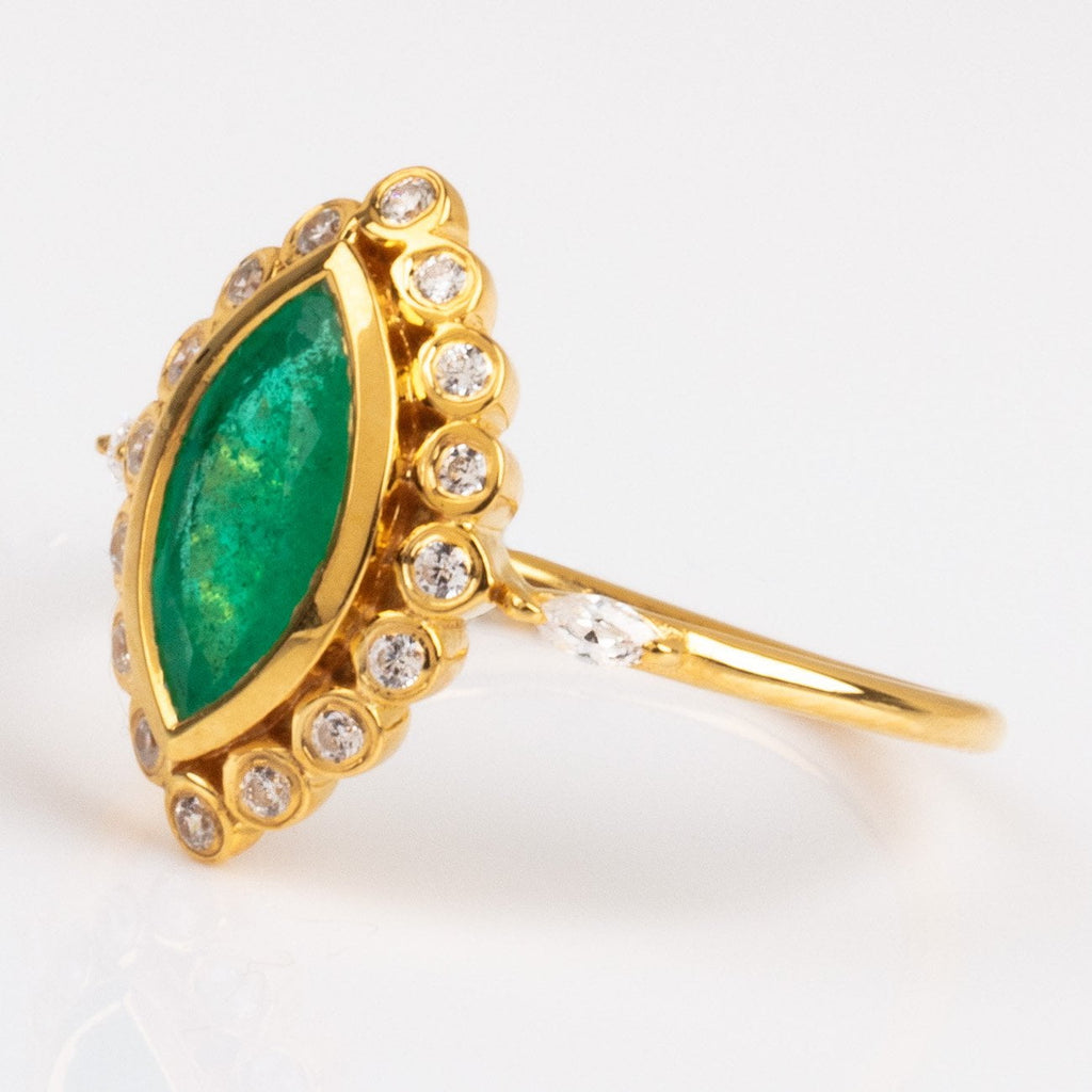 Emerald Marquise & CZ Lotus Flower Ring