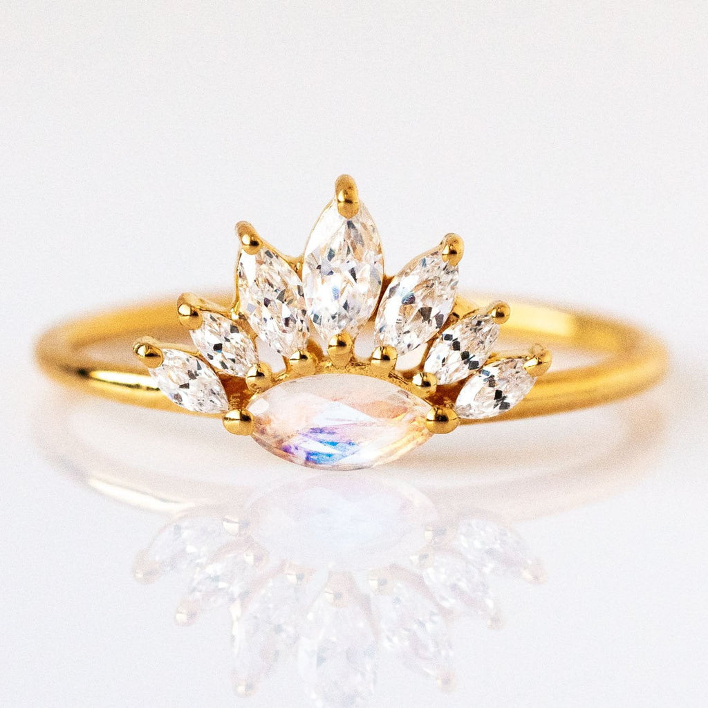 Moon of My Life Marquise Moonstone Crown Ring