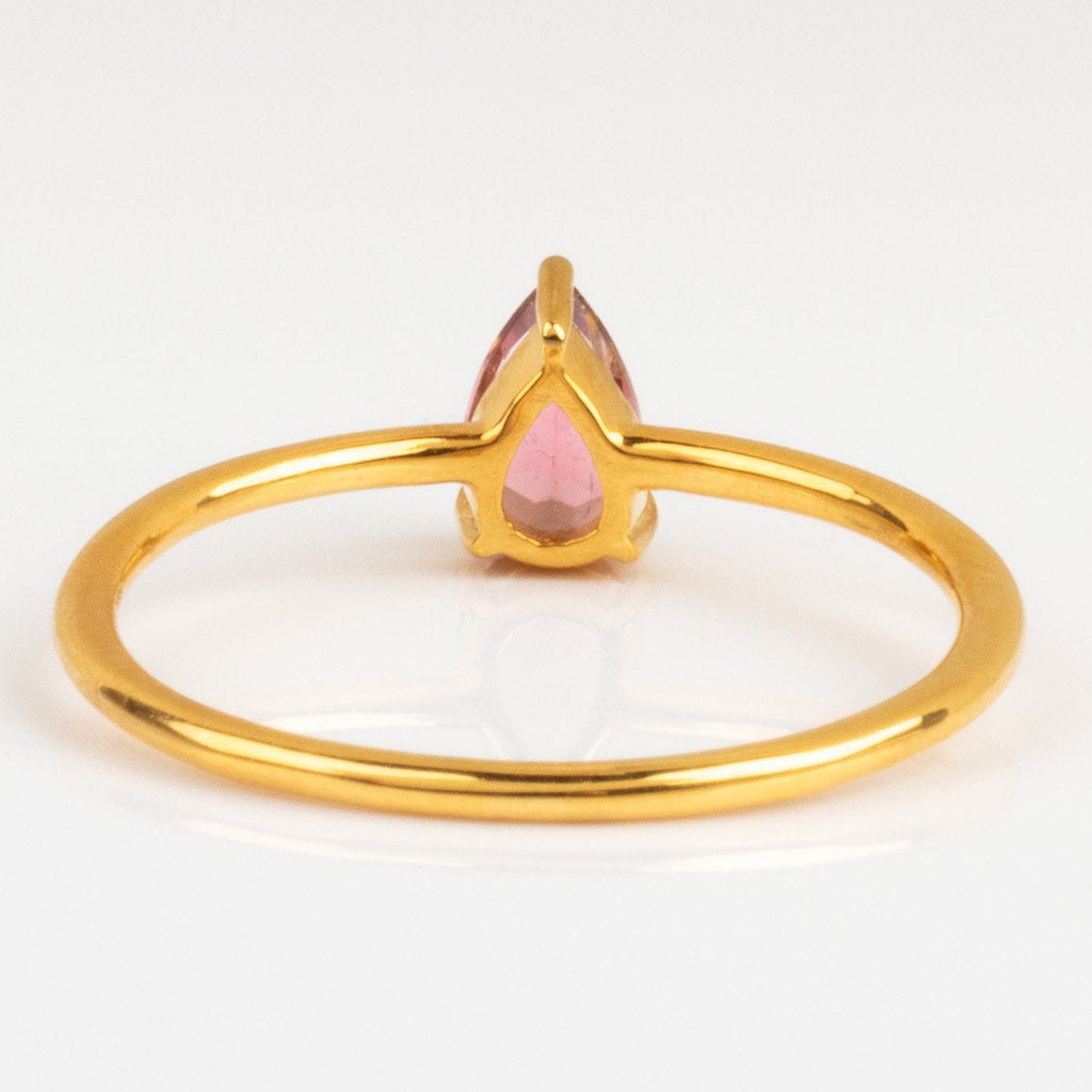 Pink Tourmaline Teardrop Ring