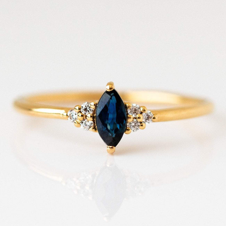 Local Eclectic - Sapphire Marquise Fantasy CZ Trio Ring - Lust & Luster