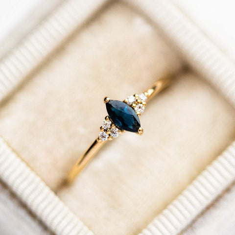 Local Eclectic - 18K Yellow Gold Plated Sapphire Marquise Fantasy CZ Trio Ring - Lust & Luster