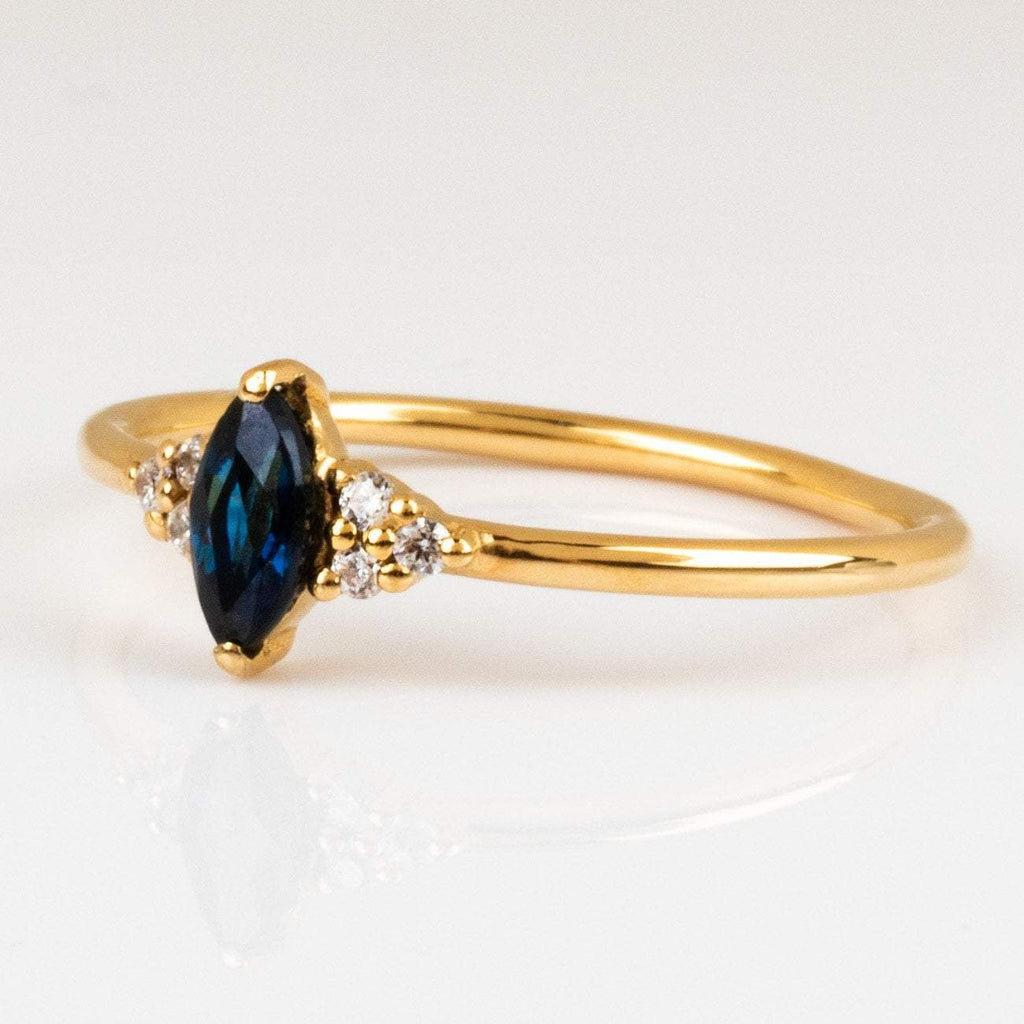 Local Eclectic - 18K Yellow Gold Plated Sapphire Stone Marquise Fantasy CZ Trio Ring - Lust & Luster