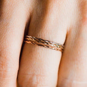 Twisted Stacking Band in Yellow Gold - rings - Lust & Luster local eclectic
