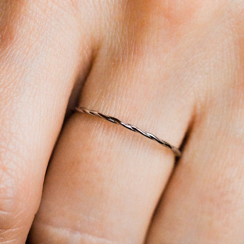Twisted Stacking Band in White Gold - rings - Lust & Luster local eclectic