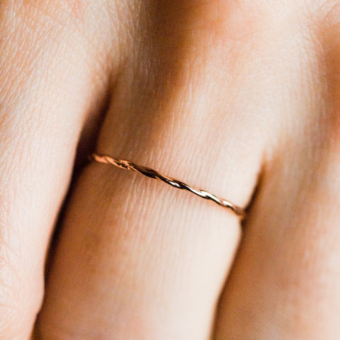 Twisted Stacking Band in Rose Gold - rings - Lust & Luster local eclectic