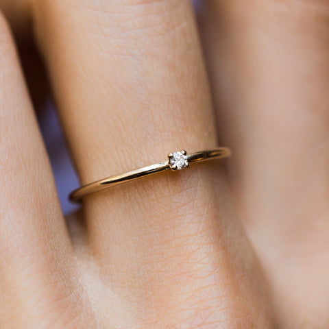 Simple Diamond Birthstone Layering Ring - rings - Lust & Luster local eclectic