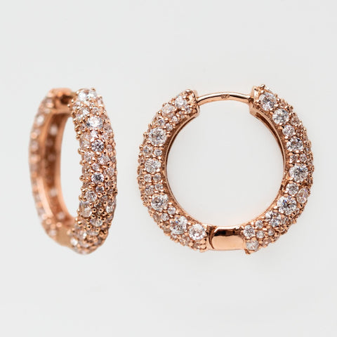 grande statement pave hoops rose gold cz jewelry
