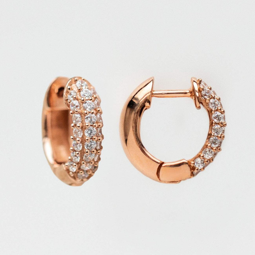 mini pave statement hoops unique rose gold cz jewelry