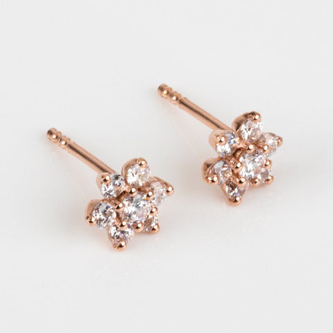 small flower cz stud earring rose gold jewelry feminine floral jewelry