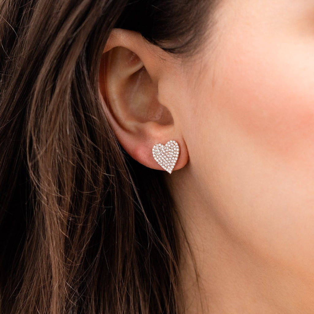 statement heart stud earring rose gold cz heart shaped jewelry