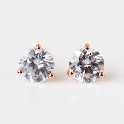 simple statement stud earring solitaire cz unique rose gold jewelry