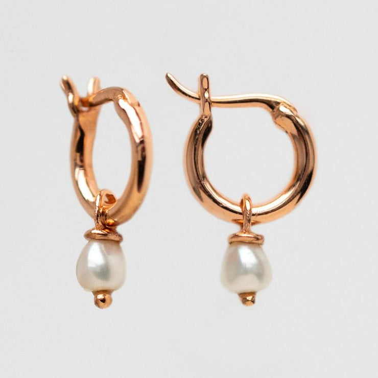 mini pearl hoop rose gold minimal dainty jewelry
