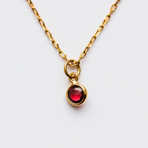 Garnet Charm Birthstone Necklace - necklaces - Lust & Luster local eclectic