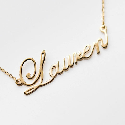 Solid Gold Nameplate & Word Necklace - necklaces - Lust & Luster local eclectic