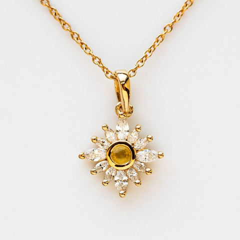 Hazy Daydream Sapphire Sunflower Inspired Pendant Necklace Petal CZ