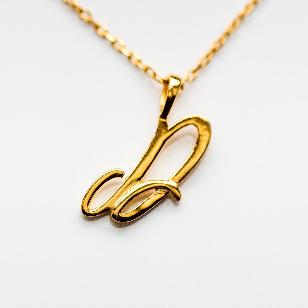 Gold initial Necklace, Gold Monogram Necklace, D Initial Necklace, Letter Necklace