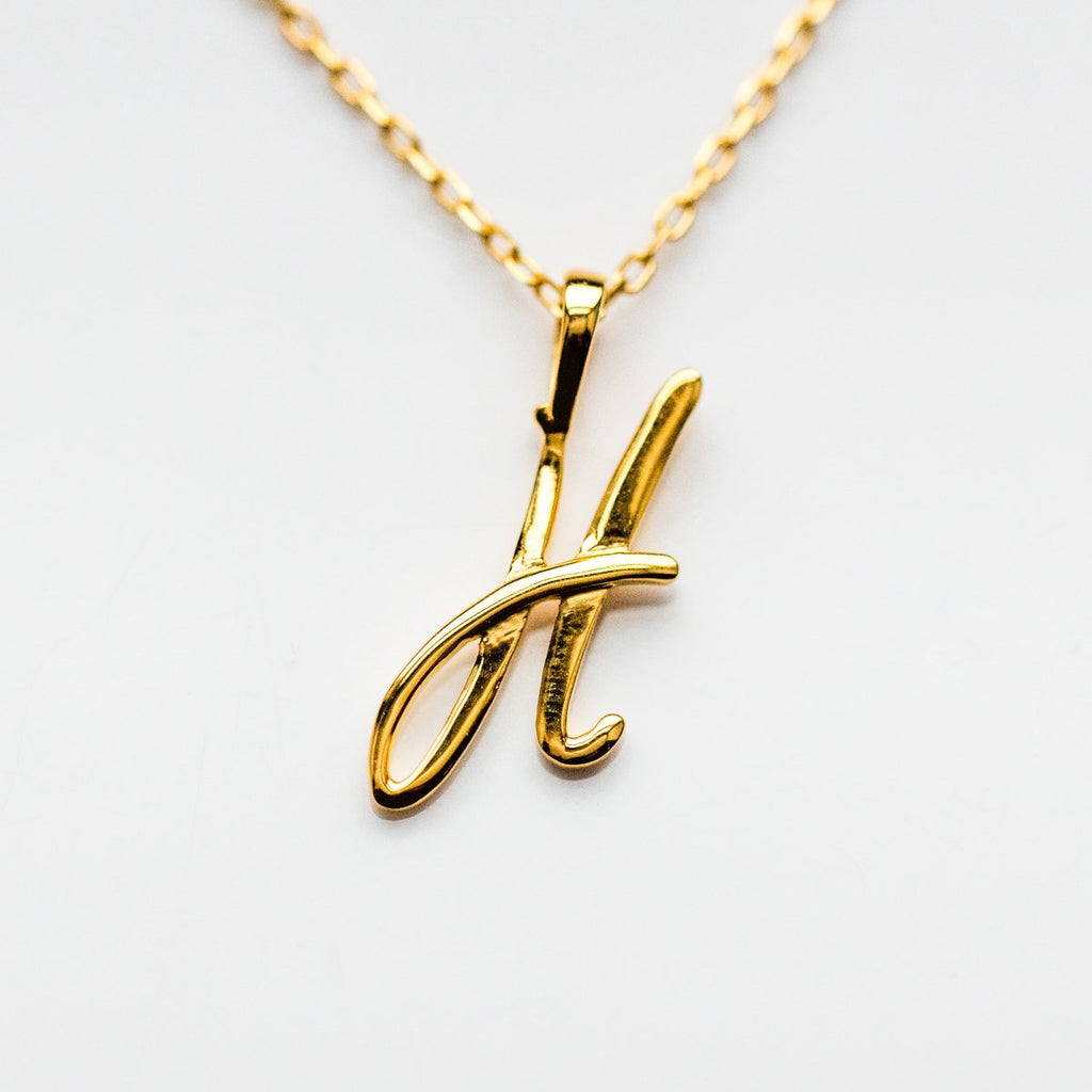 Gold initial Necklace, Gold Monogram Necklace, H Initial Necklace, Letter Necklace