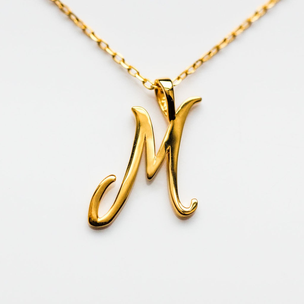 Gold initial Necklace, Gold Monogram Necklace, M Initial Necklace, Letter Necklace