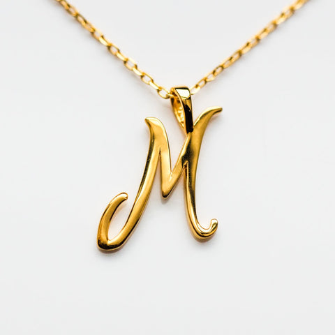 M Cursive Letter Charm Necklace - necklaces - Lust & Luster local eclectic
