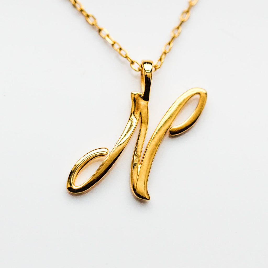 Gold initial Necklace, Gold Monogram Necklace, N Initial Necklace, Letter Necklace
