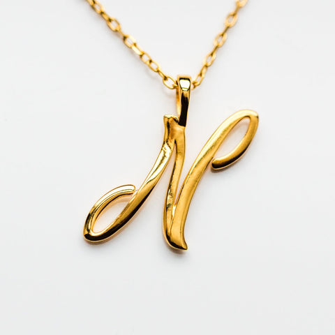 N Cursive Letter Charm Necklace - necklaces - Lust & Luster local eclectic