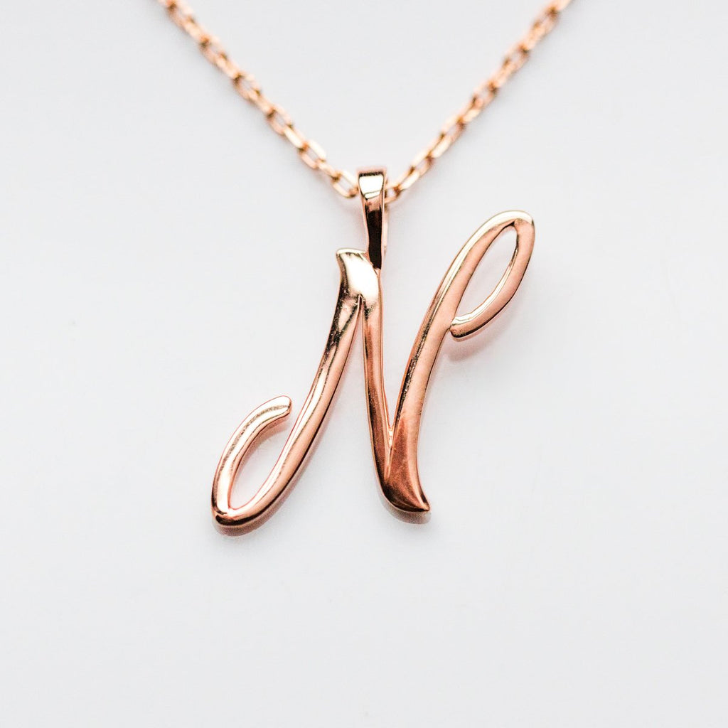 Rose Gold initial Necklace, Rose Gold Monogram Necklace, N Initial Necklace, Letter Necklace