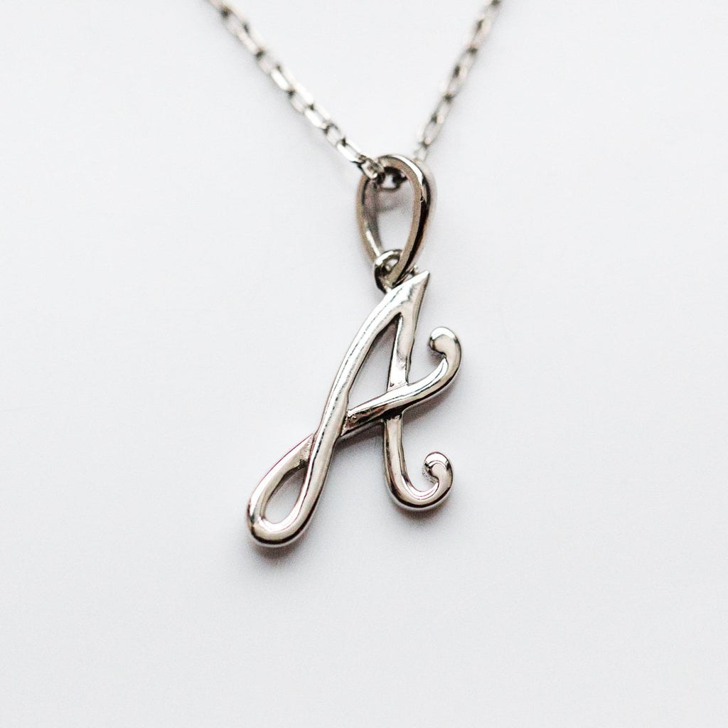 Silver initial Necklace, Silver Monogram Necklace, A Initial Necklace, Letter Necklace