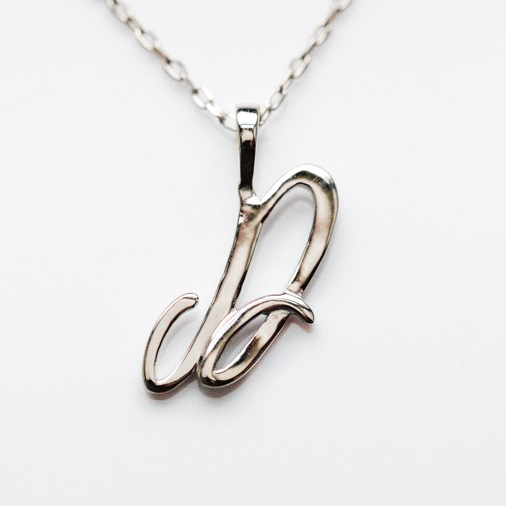 Silver initial Necklace, Silver Monogram Necklace, D Initial Necklace, Letter Necklace