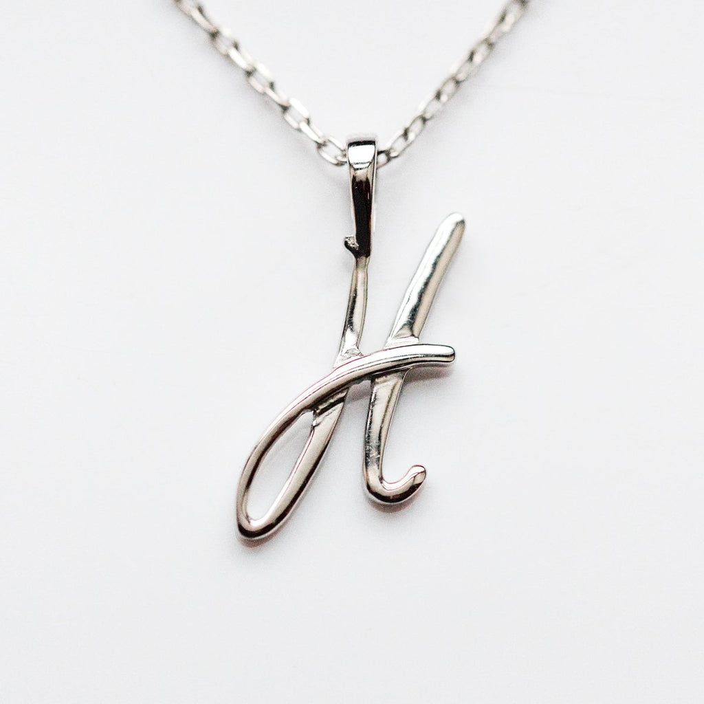 Silver initial Necklace, Silver Monogram Necklace, H Initial Necklace, Letter Necklace