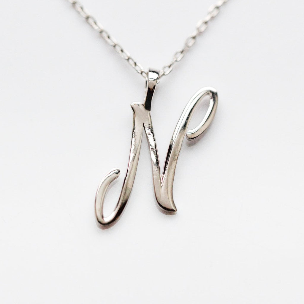 Silver initial Necklace, Silver Monogram Necklace, N Initial Necklace, Letter Necklace